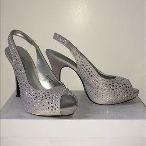 Silver Jeweled Peep-Toe Heals
